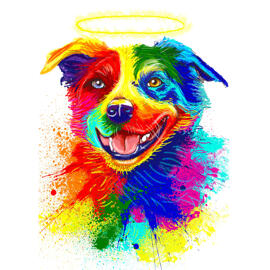 Pet Memorial Rainbow Portrait Drawing from Photos