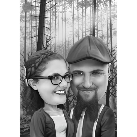 Forest of Love - Couple Caricature in Black and White Style from Photo - example