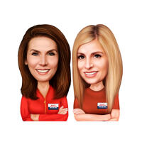 Two Persons Realtors Caricature from Photos for Real Estate Ad Design