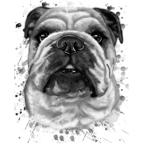 Graphite Portrait of Bulldogs in Head and Shoulders Watercolor Style from Photos - example