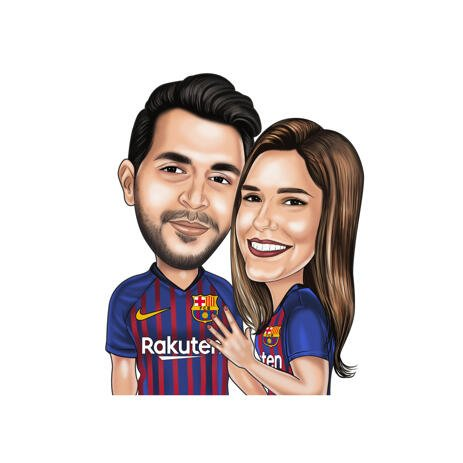 Couple Football Caricature from Photos in Color Style for Barcelona Fans - example