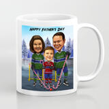 Print on Mug: Personalized Printed Group Drawing of Family on Father's Day