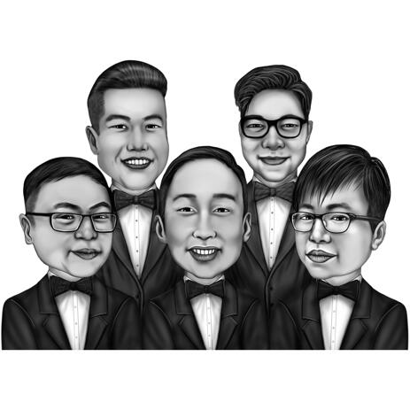 Groomsmen Caricature Gift from Photos in Black and White Style - example