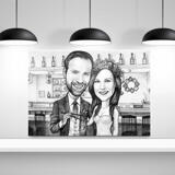 Wedding Caricature Printed as Canvas