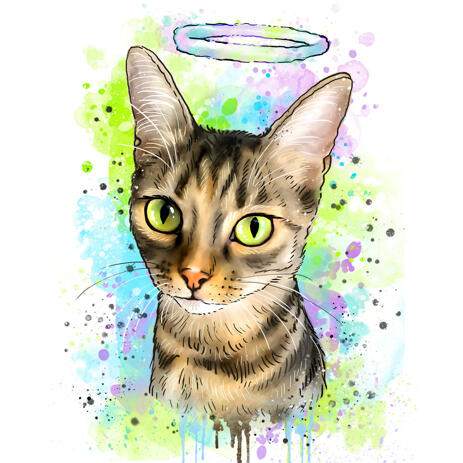 Cat Memorial Portrait in Pastel Watercolors with Halo - example