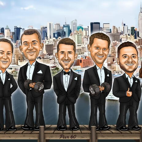 Personalized Groomsmen Caricature from Photos - example