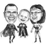 Funny Superheroes Group Cartoon from Photos