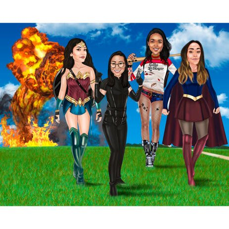 Superhero Girls Group Portrait in Colored Style on Custom Background - example