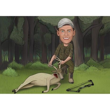 Карикатура охотника с добычей на цветном фоне - example