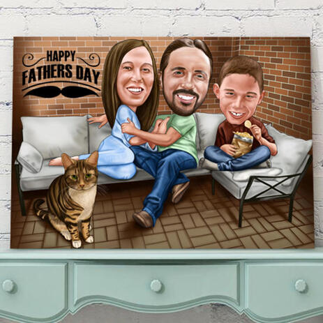 Personalized Canvas: Print of Family Cartoon Drawing on Canvas - example