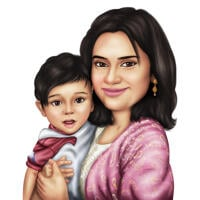 Realistic Mother with Son Portrait Hand Drawn in Color Style from Photos