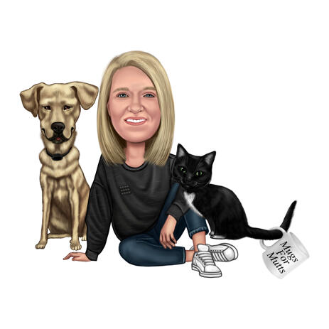 Caricature Drawing of Owner with Dog and Cat in Full Body Colored Style for Pets Lovers - example