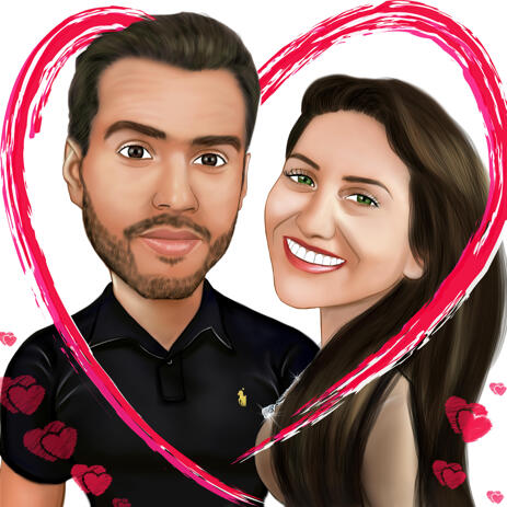 Valentines Day Couple Caricature in Heart - example