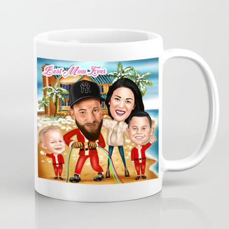 Custom Print on Mug: Group Family Drawing for Mother's Day Gift - example