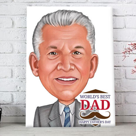 Fathers Day Gift Caricature in Colored Style from Photo Printed on Canvas - example
