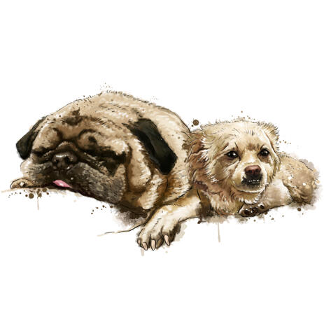 Two Mixed Dog Breed Caricature Portrait in Natural Watercolor Style from Photos - example