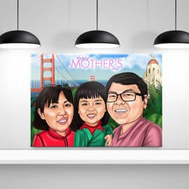 Print on Canvas: Custom Cartoon Drawing of Family in Colored Digital Style