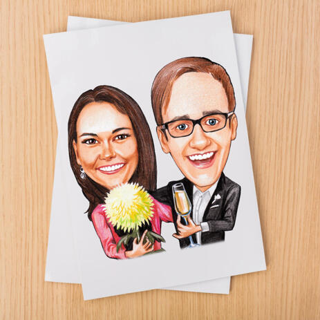 Colored Couple Cartoon Caricature Gift from Photos Printed on Poster - example