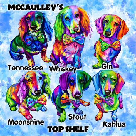 Смешные породы собак в акварельном стиле Карикатурный портрет из фотографий на синем фоне - example