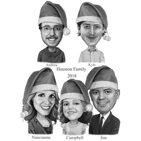 Christmas Family Pencil Portrait from Photos - example