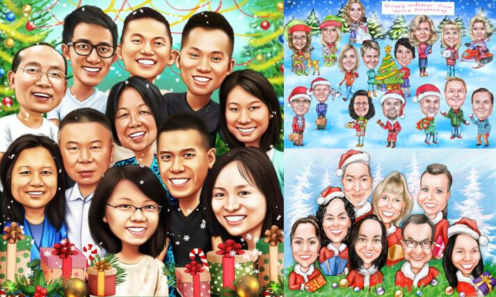 Christmas Group Caricature large example