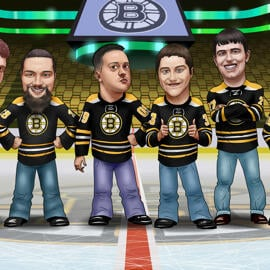 Hockey Groomsmen Gift Cartoon from Photos