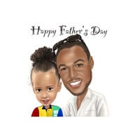 Dad with Kid - Custom Father's Day Caricature Gift from Photos