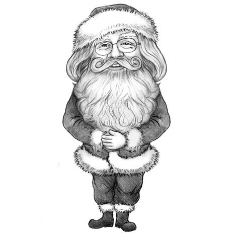 Santa Caricature Hand Drawn in Black and White Pencil Style from Photo - example