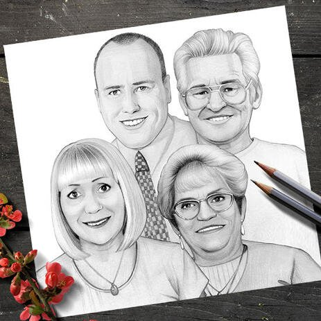 Family Group Portrait Cartoon Digitally Hand Drawn from Photos - Print on Poster - example