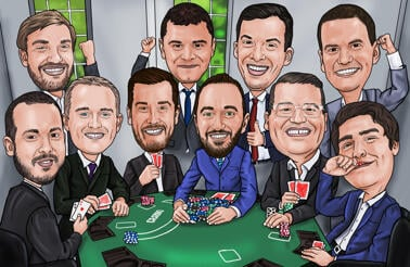 Poker Groomsmen Gift Caricature from Photos