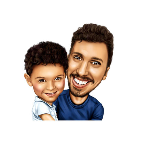 Daddy with Son Cartoon Caricature from Photos for Father Portrait Gift - example