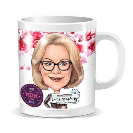 Mother's Day Cartoon Portrait Gift on Mug - Hand Drawn in Colored Style from Photos - example