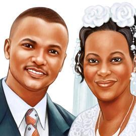 在色的铅笔样式的婚礼画象图画