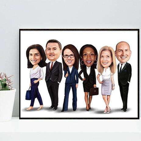 Business Group Caricature on poster - example