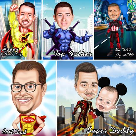Super Dad Superhero Caricature from Photos (50% OFF) - example