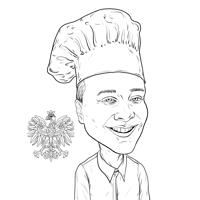 Custom Chef Caricature Drawing from Photo in Black and White Outline