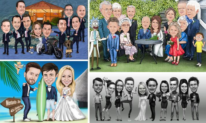 Wedding Guests Caricature large example