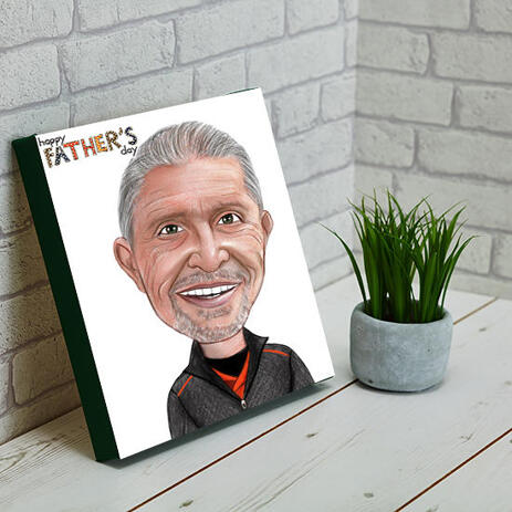 Funny Gift for Dad Caricature in Colored Head and Shoulders Style on Canvas - example