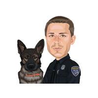 Polizist mit deutscher Schäferhund-Karikaturmalerei im Farbstil von den Fotos