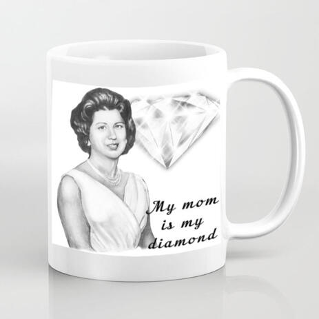 Personalized Photo Mug: Woman Portrait Drawing on Mother's Day - example