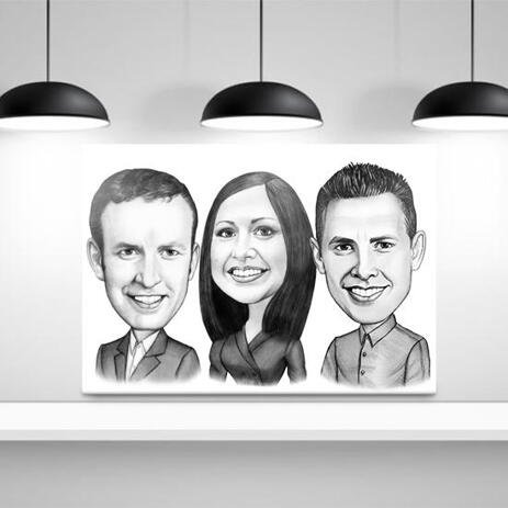 Work Team Caricature on Canvas - example