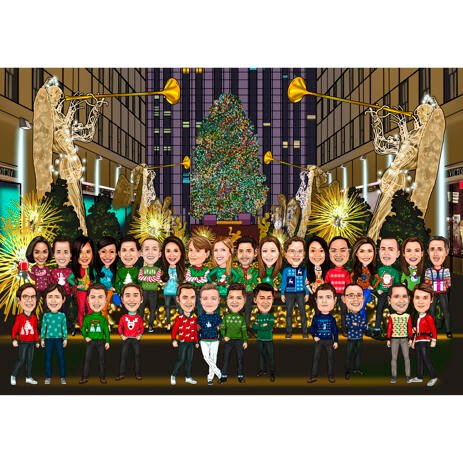Christmas Group Caricature at Rockefeller's Center Christmas Tree - example