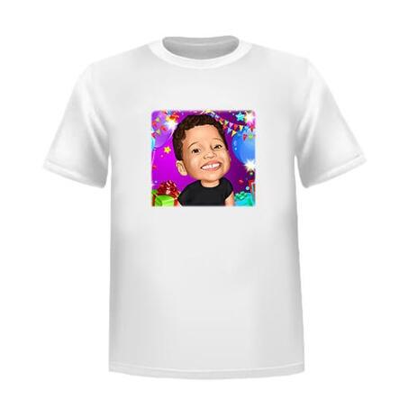 Presente de caricatura de aniversário de criança feliz na camiseta em estilo colorido de fotos - example