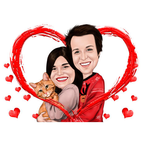Love Caricature of Couple with Pet for Personalized Gift - example
