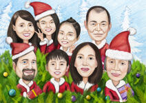 Family Christmas Karikatuur example 3