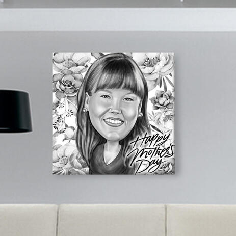 Personalized Mother's Day Gift: Caricature Printed on Canvas - example