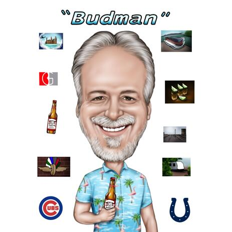 Person Retiring Caricature Gift with Company Logo from Photos - example