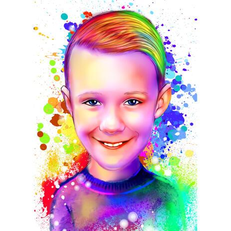 Aquarel Kid portret van foto's - example