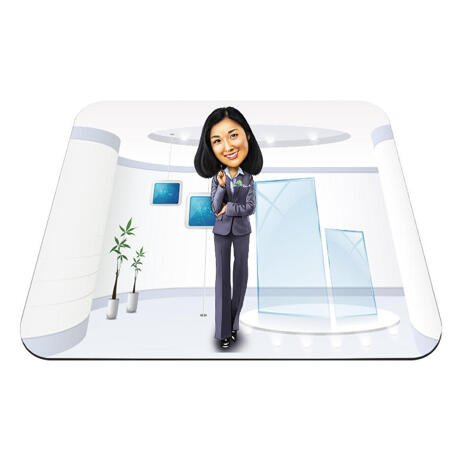 Office Caricature on Mouse Mat - example