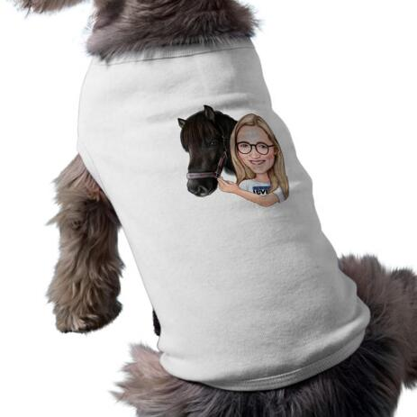 Girl and Horse Caricature Printed as Pet Shirt - example